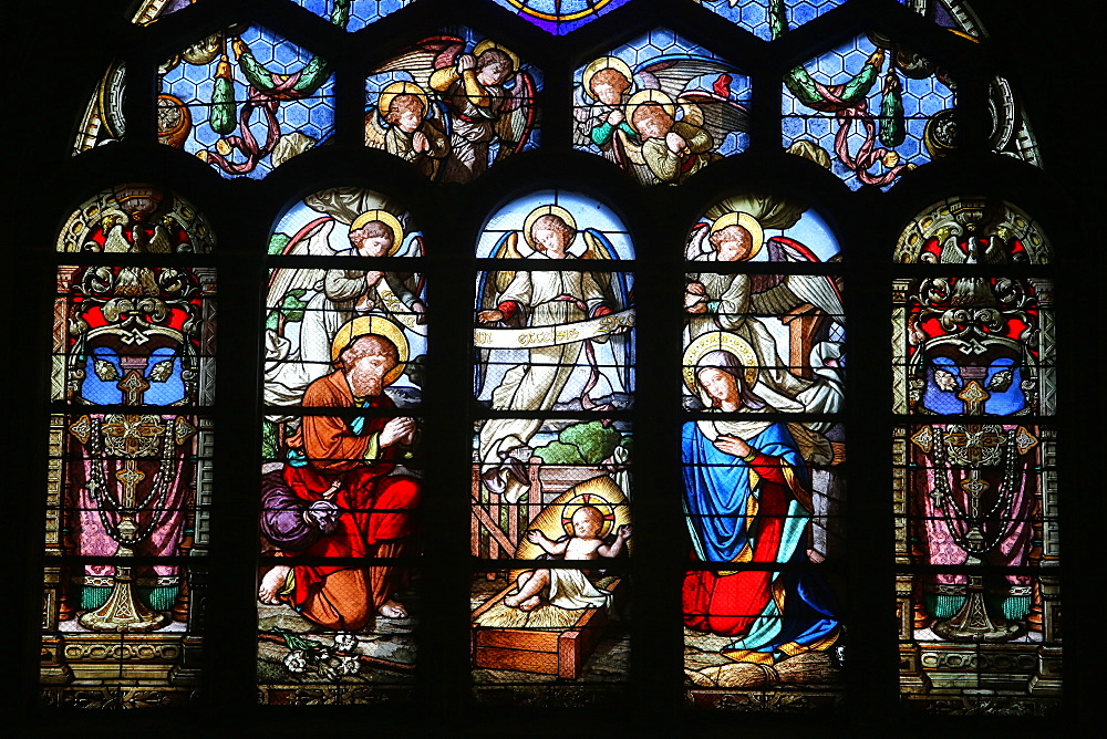 Stained glass window depicting the Nativity, St. Eustache church, Paris, France, Europe