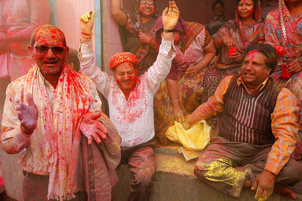 Celebrating Holi festival, Barsana, Uttar Pradesh, India, Asia  - 809-5114
