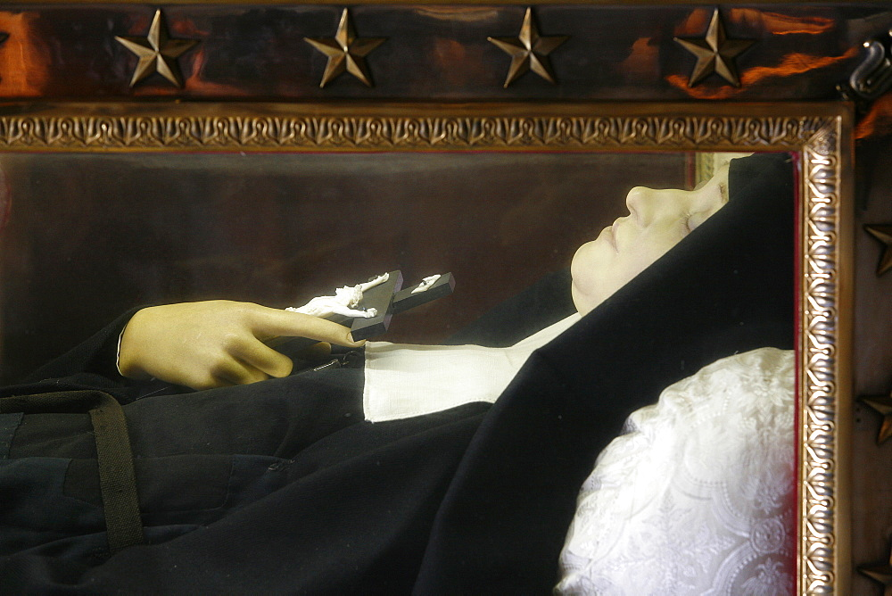 Recumbent figure in the Visitation Basilica, Sainte-Jeanne de Chantal, Annecy, Haute Savoie, France, Europe