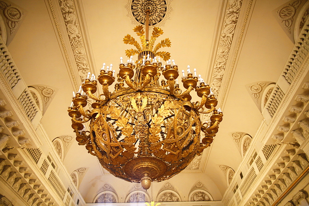 Ceiling light in Arms Room, Winter Palace, Hermitage Museum, St. Petersburg, Russia, Europe