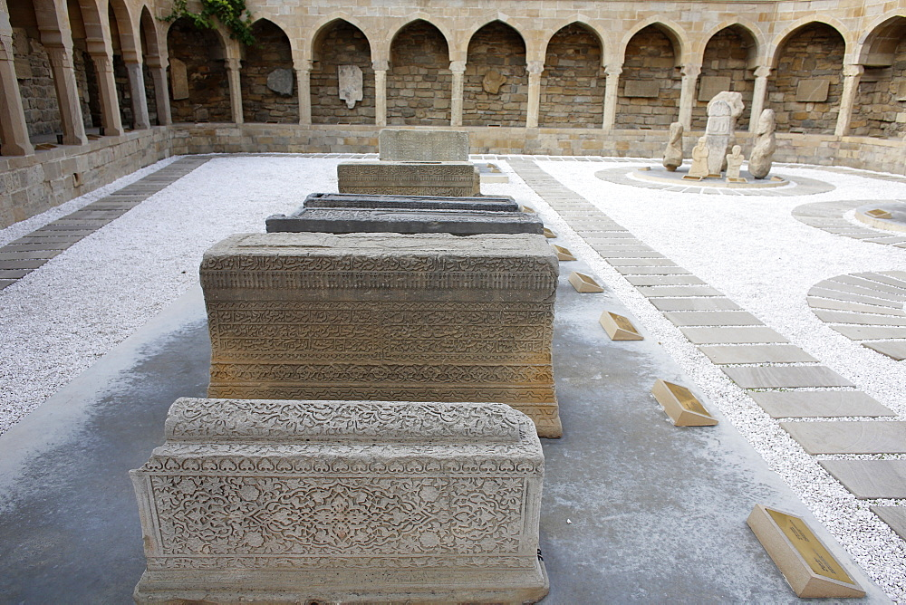 Arcades and religious burial place in Baku's old city, UNESCO World Heritage Site, Baku, Azerbaijan, Central Asia, Asia