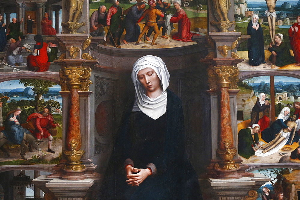 Our Lady of the Seven Sorrows by Adrain Isenbrandt dating from 1530, Church of our Lady, Bruges, West Flanders, Belgium, Europe