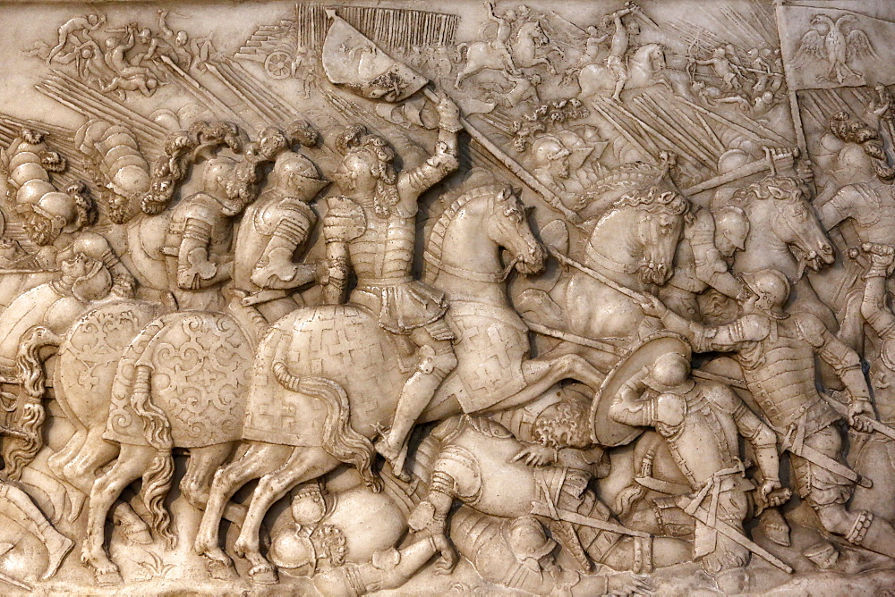 Foundation's low relief on the tomb of Francis 1 King of France and Claude of France depicting the battle of Cerisoles, with the French cavalry facing the Imperial troops, Basilica of St. Denis, Seine-St. Denis, Paris, France, Europe
