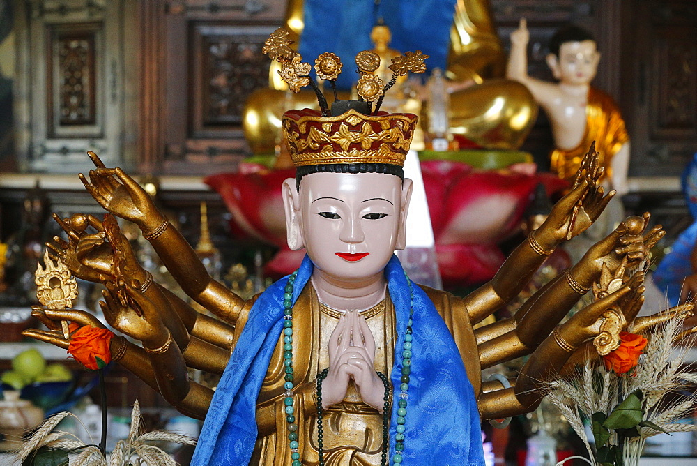 Detail of a statue of the Bodhisattva Avalokiteshvara, St. Pierre-en-Faucigny, Haute-Savoie, France, Europe
