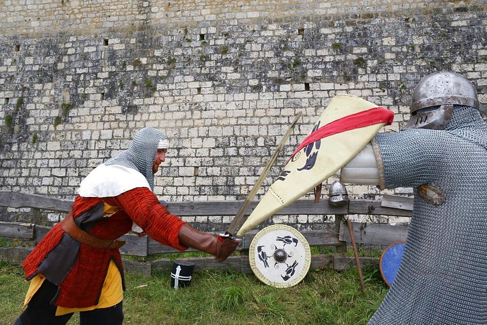 Battle of knights, the medieval festival of Provins, UNESCO World Heritage Site, Seine et Marne, Ile-de-France, France, Europe