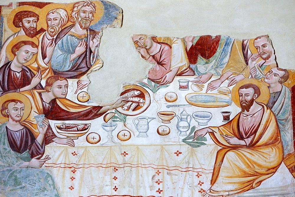 Fresco by Rinaldo da Taranto of the Last Supper in Santa Maria del Casale church , Brindisi, Apulia, Italy, Europe