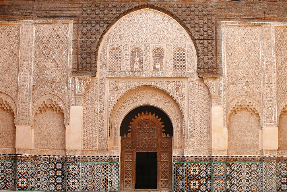 The inner courtyard of the Ben Youssef Medersa, the largest Medersa in Morocco, originally a religious school founded under Abou el Hassan. UNESCO World Heritage Site, Marrakech, Morocco, North Africa, Africa