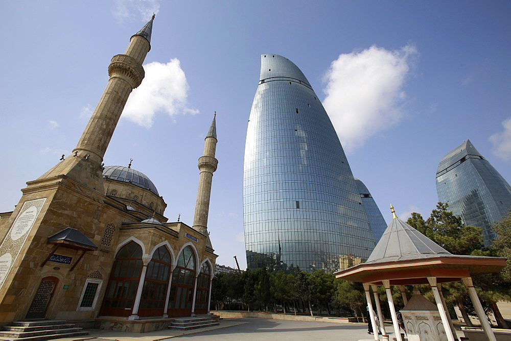 Shehidler mosque and the Flame Towers, Baku, Azerbaijan, Central Asia, Asia