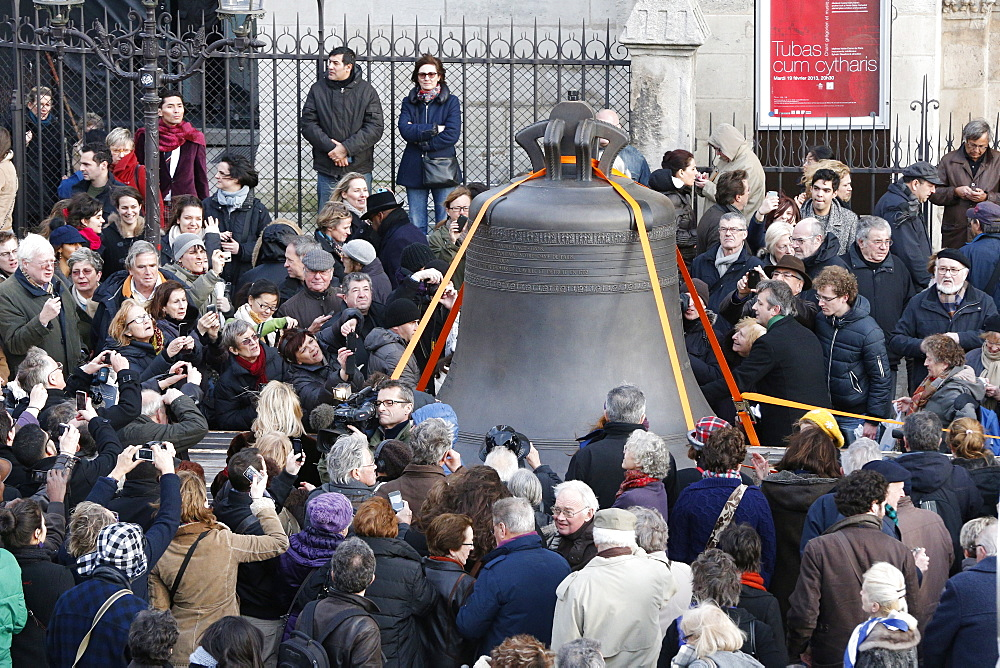 Arrival of the new bell chime on the 850th anniversary of Notre-Dame de Paris, Paris, France, Europe