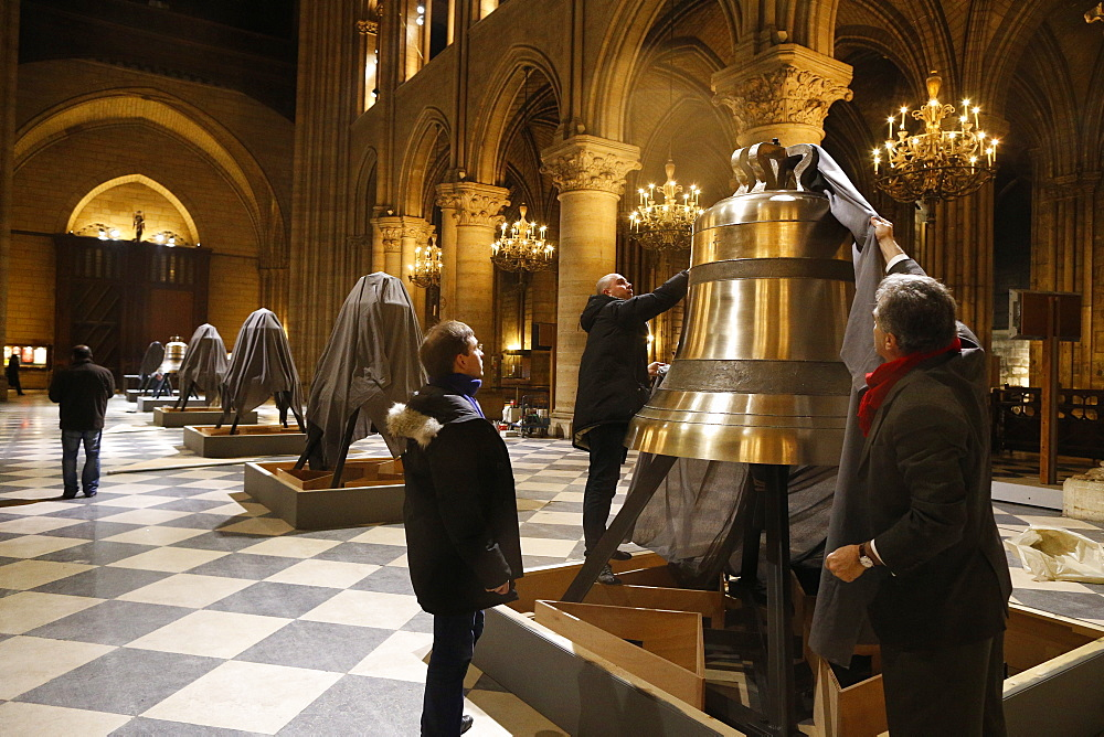 Exhibition of the new bells in the nave, on the 850th anniversary, Notre-Dame de Paris, Paris, France, Europe