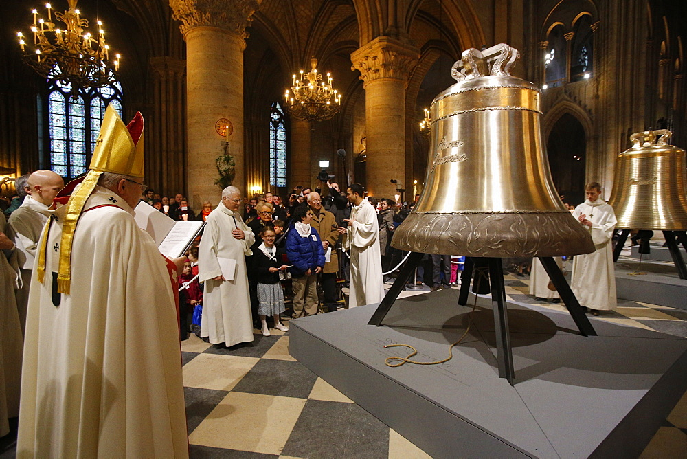 The new bronze bells are displayed in the nave during a ceremony of blessing by Paris Archbishop Andre Vingt-Trois, on the 850th anniversary, Notre Dame, Paris, France, Europe