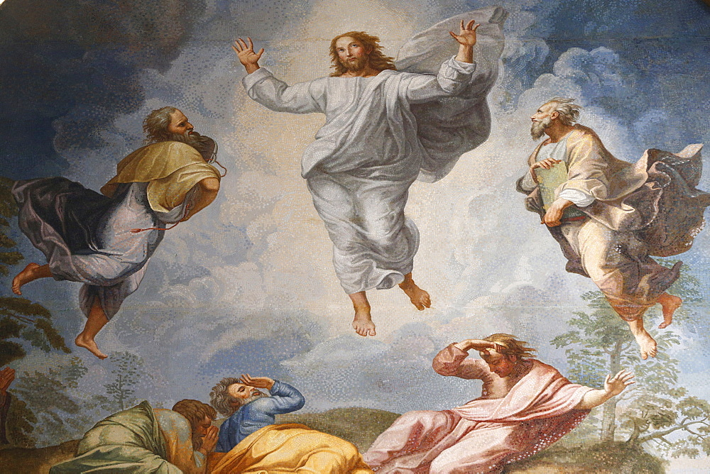 Raphael's oil painting of the Resurrection of Jesus, the altarpiece of the Altar of the Transfiguration, St. Peter's Basilica, Vatican, Rome, Lazio, Italy, Europe
