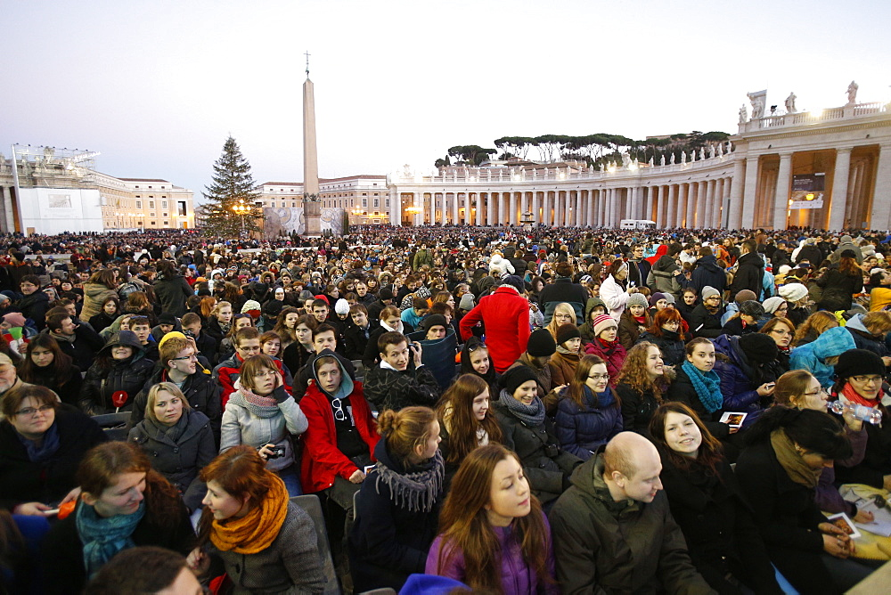 Prayer vigil at European Meeting of Taize Community in St. Peter's Square, Rome, Lazio, Italy, Europe