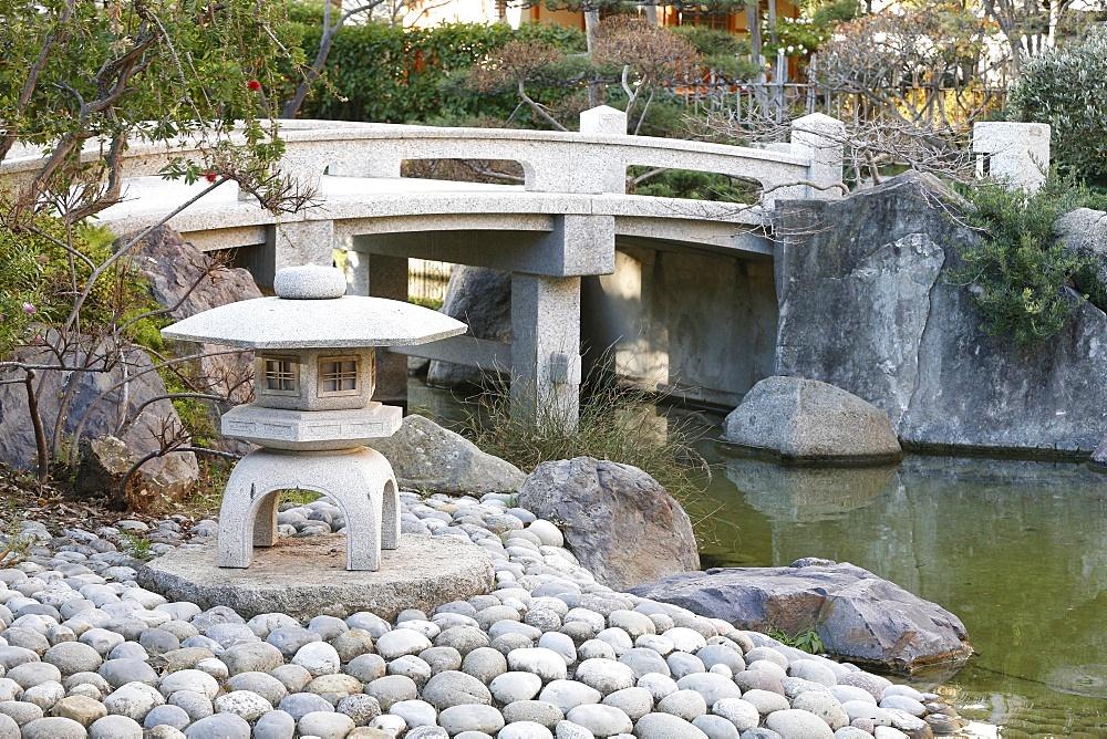 Stone lanterns, Japanese garden, Monaco, Europe