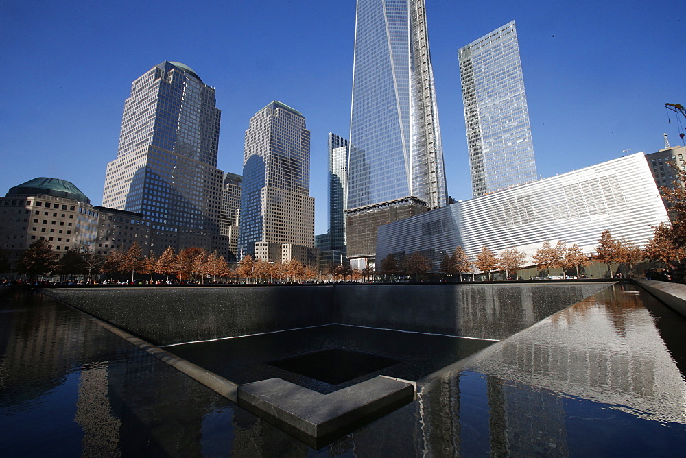 Ground Zero, the National 9/11 Memorial at the site of the World Trade Center in Lower Manhattan, New York, United States of America, North America