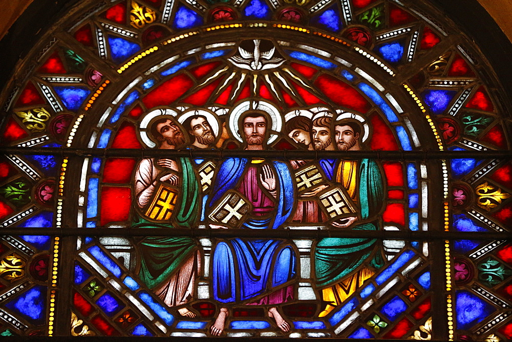 Stained glass window of Jesus and the 12 Apostles, St. Barth's Church, New York, United States of America, North America