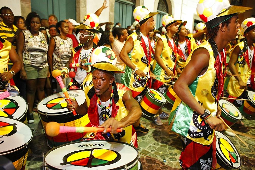 Drum band Olodum performing in Pelourinho during carnival, Bahia, Brazil, South America