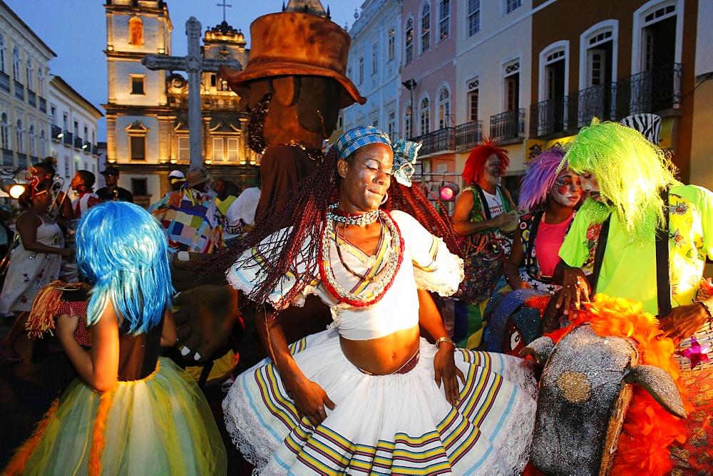 Salvador street carnival in Pelourinho, Bahia, Brazil, South America - 809-5531