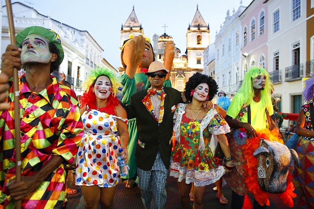 Salvador street carnival in Pelourinho, Bahia, Brazil, South America  - 809-5532