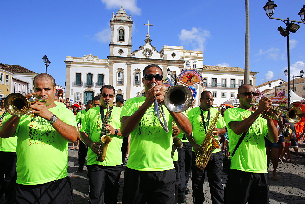 Brass band at Salvador carnival in Pelourinho, Bahia, Brazil, South America - 809-5541