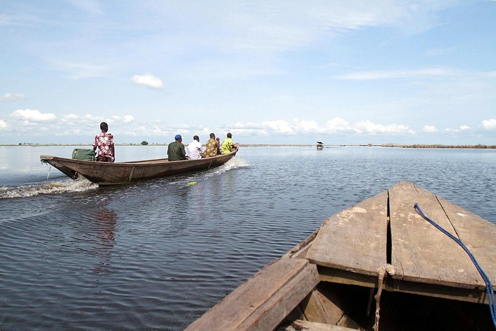 Canoe on Lake Nokoue, Ganvie, Benin, West Africa, Africa