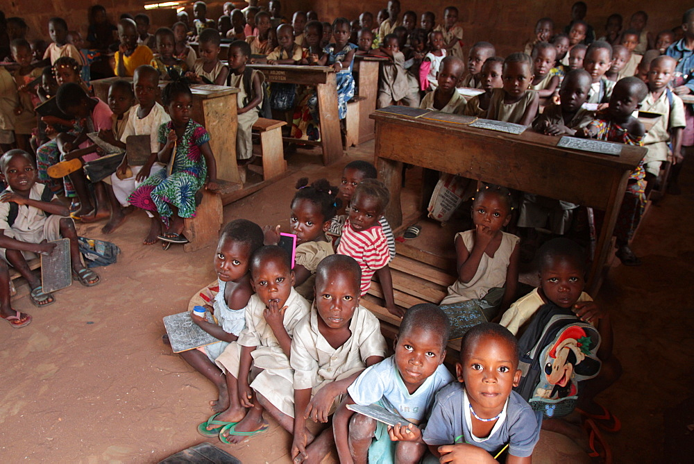 Wore African school classroom, Hevie, Benin, West Africa, Africa