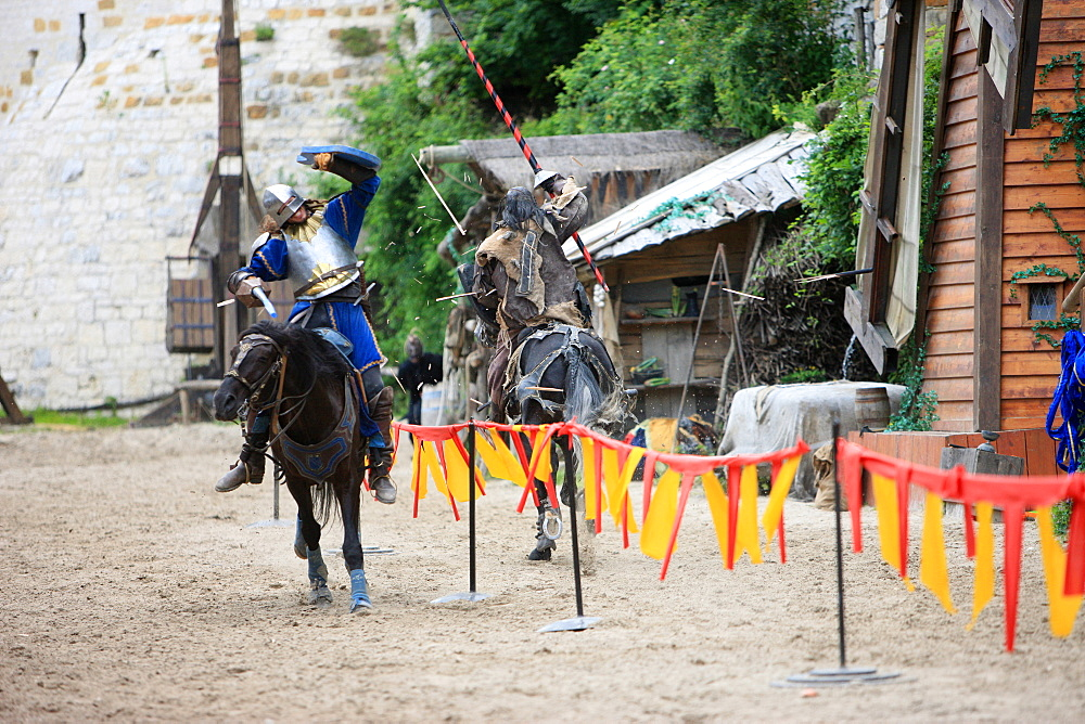 Knights jousing during the medieval festival of Provins, UNESCO World Heritage Site, Seine-et-Marne, France, Europe