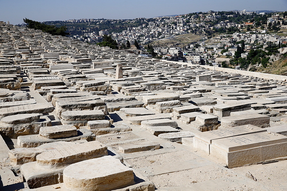 Gravestones among the 150,000 graves in the Jewish Cemetery on the Mount of Olives, Jerusalem, Israel, Middle East