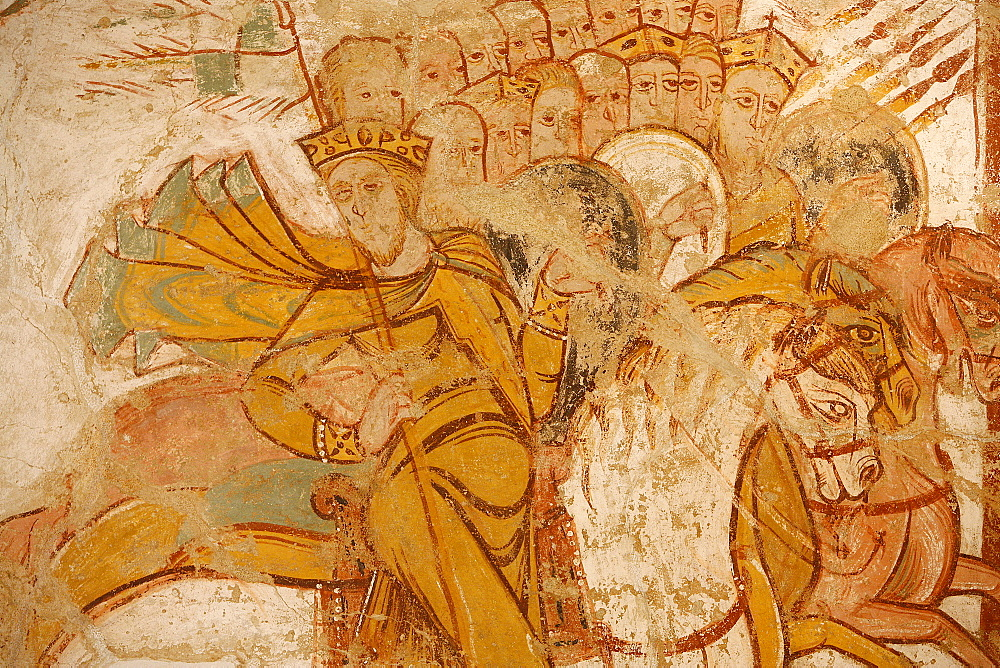 Painting of kings attacked by Abraham and his followers, St. Savin Abbey, Saint-Savin-sur-Gartempe, Vienne, France, Europe