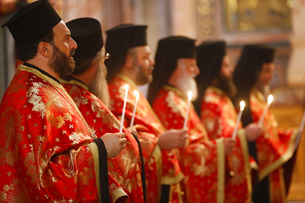 The Greek Orthodox catholicon, Orthodox Mass, Holy Sepulchre Church, Jerusalem, Israel, Middle East