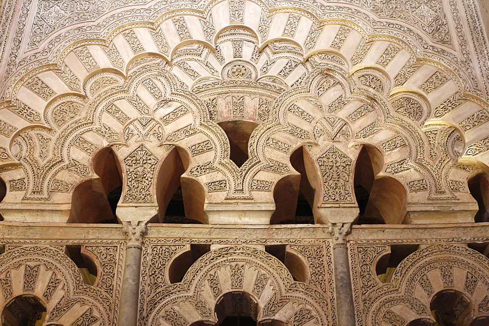 Arch carvings at the Cordoba Mezquita (Great Mosque), UNESCO World Heritage Site, Cordoba, Andalucia, Spain, Europe