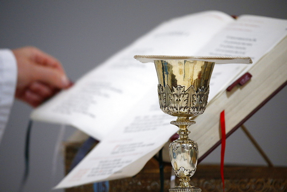 Roman missal and chalice, Villemomble, Seine-Saint-Denis, France, Europe