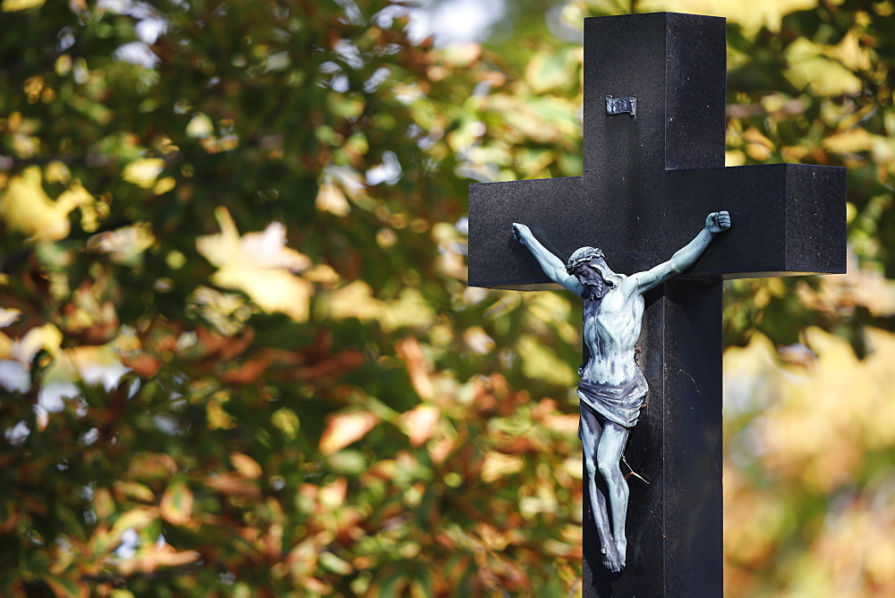 Crucifix in Cemetery, Vienna, Austria, Europe