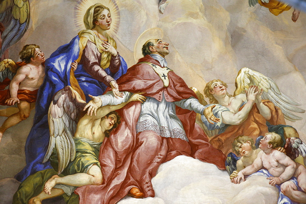 Dome fresco by Johann Michael Rottmayr depicting the Intercession of Charles Borromeo supported by the Virgin Mary, Karlskirche (St. Charles's Church), Vienna, Austria, Europe