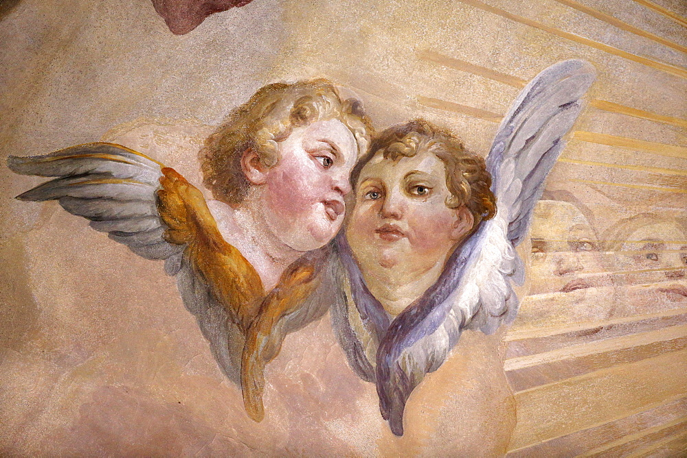 Angels in dome fresco by Johann Michael Rottmayr, Karlskirche (St. Charles's Church), Vienna, Austria, Europe