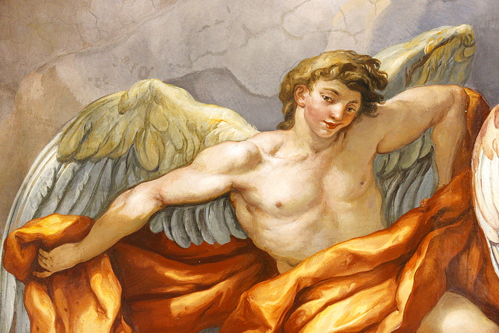 Angel in dome fresco by Johann Michael Rottmayr, Karlskirche (St. Charles's Church), Vienna, Austria, Europe