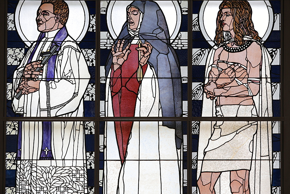 Stained glass by Koloman Moser, Am Steinhof church (Church Leopold), Vienna, Austria, Europe