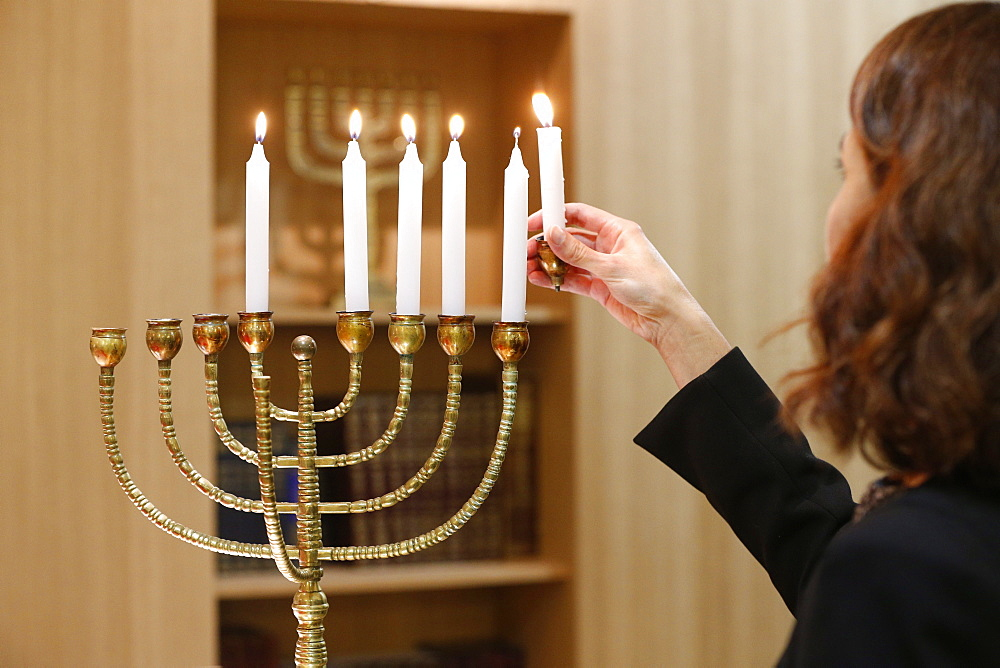 Lighting the Hanukkah candles, Paris, France, Europe