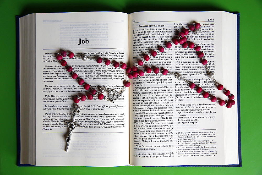 Prayer beads over an open Bible, Eure, France, Europe