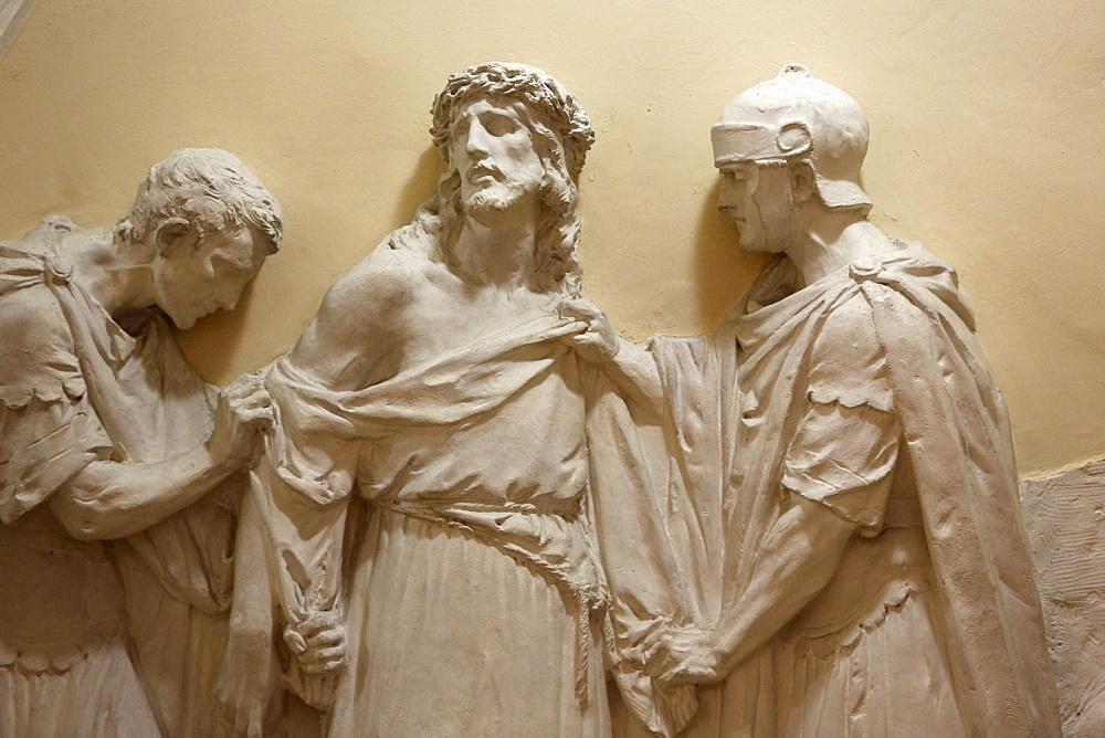 The Tenth Station of the Cross, Jesus's clothes are taken away, St. John the Baptist's Church, Arras, Pas-de-Calais, France, Europe
