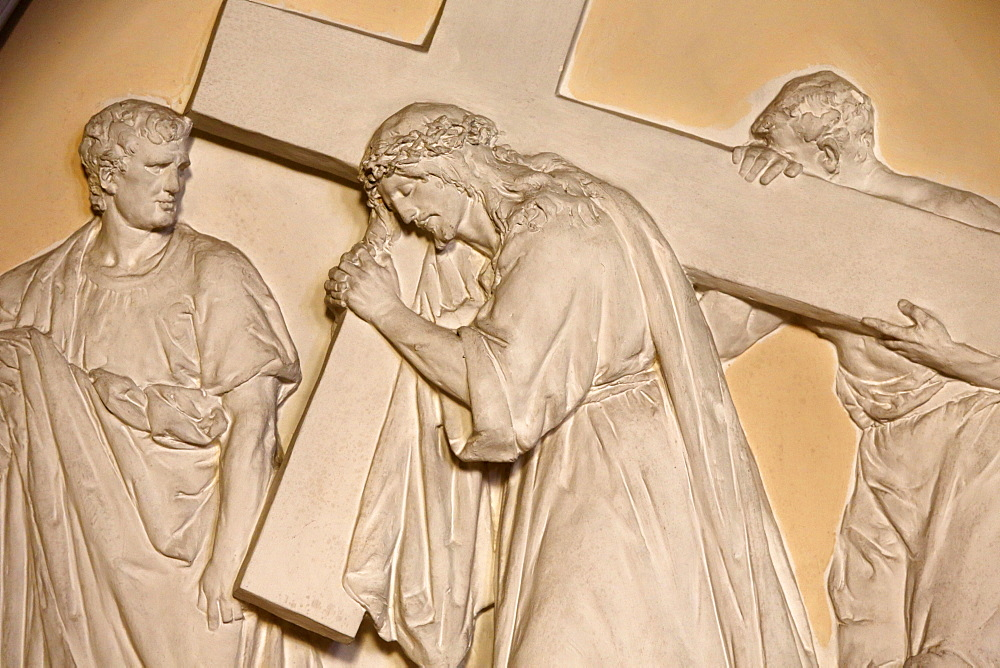 Fifth Station of the Cross, Simon helps Jesus to carry the cross, St. John the Baptist's Church, Arras, Pas-de-Calais, France, Europe