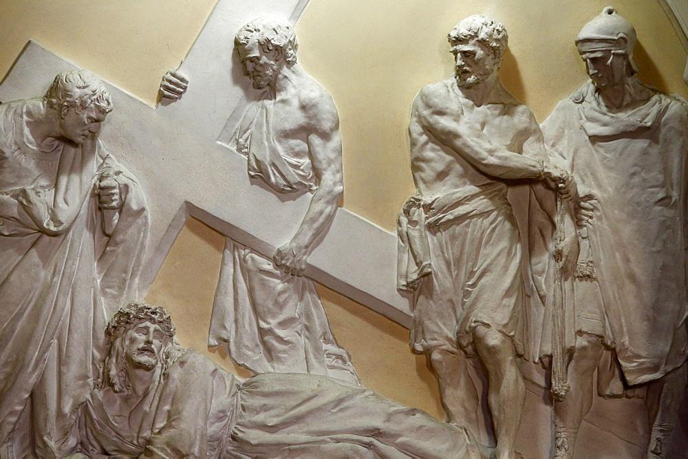 Seventh Station of the Cross, Jesus falls for the second time, St. John the Baptist's Church, Arras, Pas-de-Calais, France, Europe