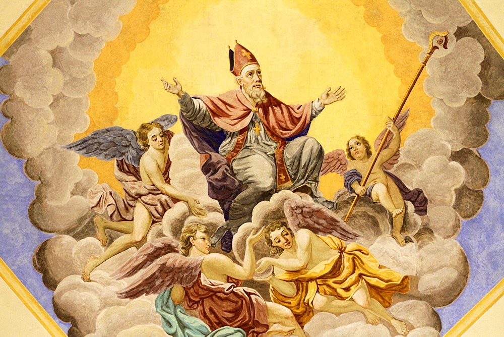 St. Nicolas ascends to heaven, Bishop of Myra, Life of St. Nicolas, St. Nicolas de Veroce church, St. Nicolas de Veroce, Haute-Savoie, France, Europe