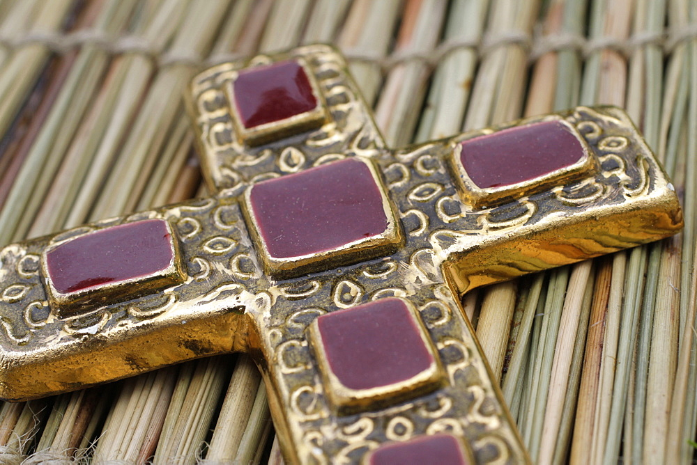 Crucifix inlaid with red stones, St. Gervais-les-Bains, Haute-Savoie, France, Europe