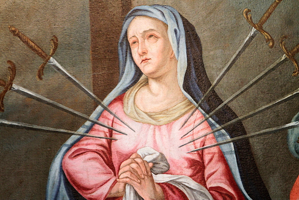 Virgin Mary, The Seven Sorrows,. Our Lady of the Assumption church, Cordon, Haute-Savoie, France, Europe