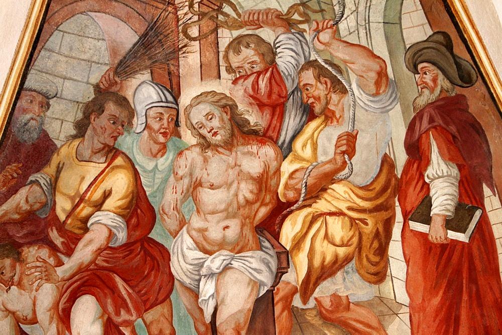 The punishment of Jesus, Our Lady of the Assumption church, Cordon, Haute-Savoie, France, Europe