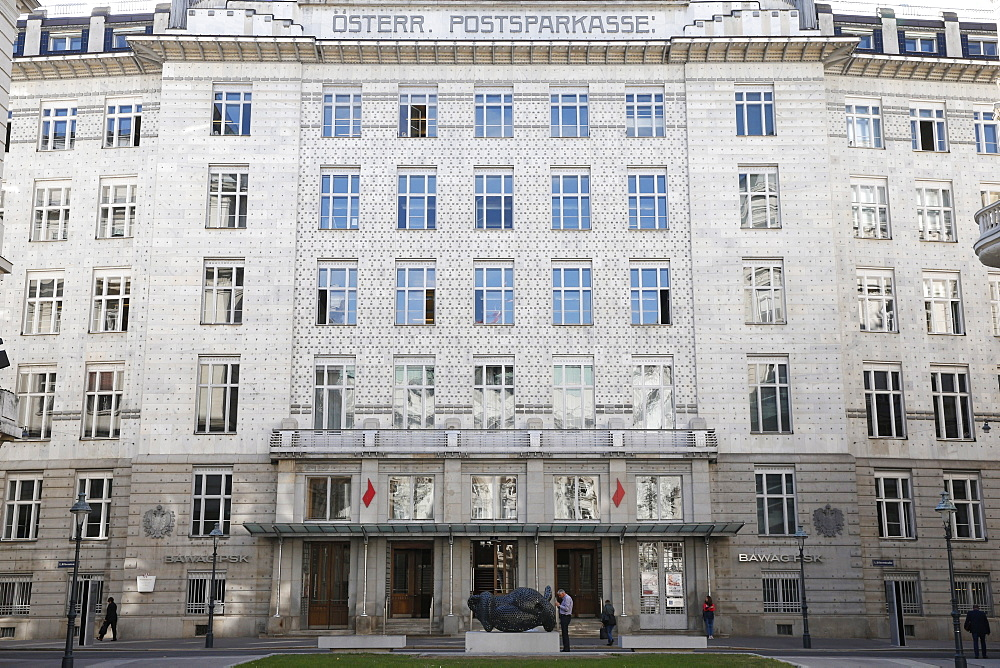 The Austrian Postal Savings Bank building, a famous modernist building in Vienna, built by the architect Otto Wagner, Vienna, Austria, Europe