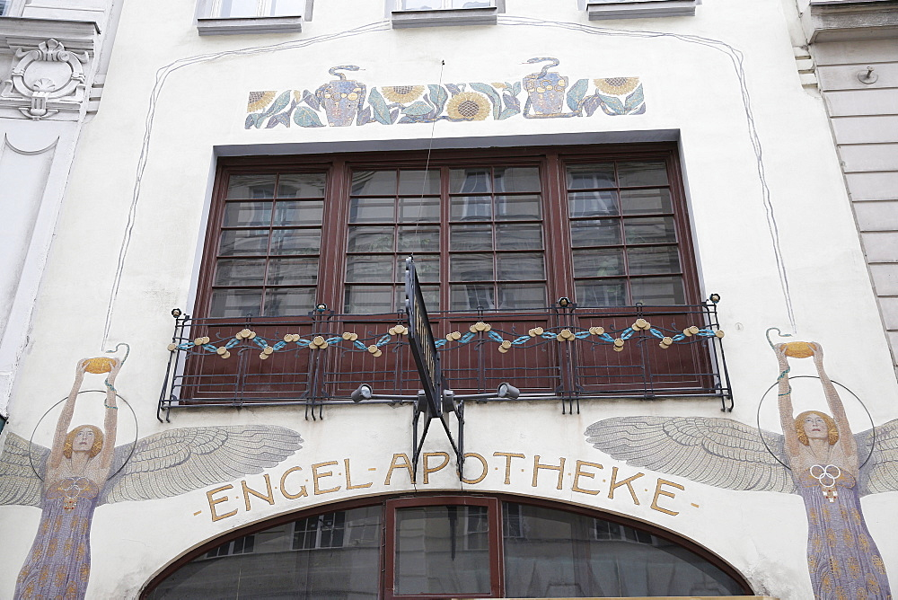 The Engel Apotheke with two angels by Gustav Klimt, Vienna, Austria, Europe