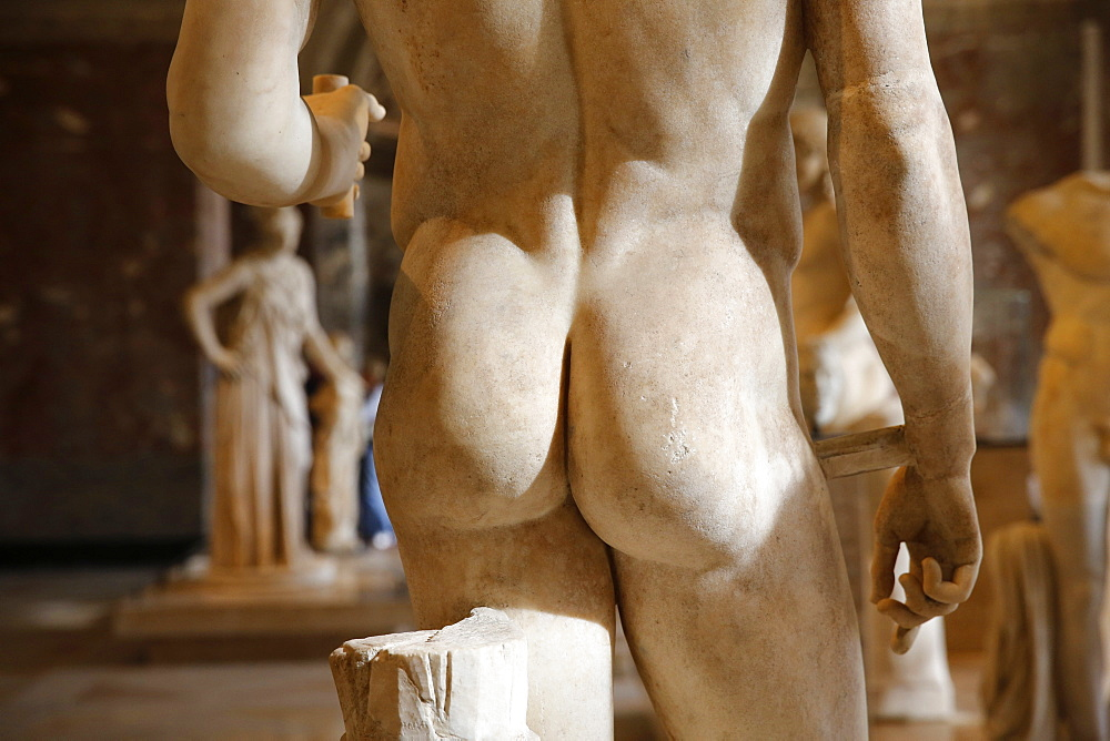Detail of a statue in the Louvre Museum, Paris, France, Europe