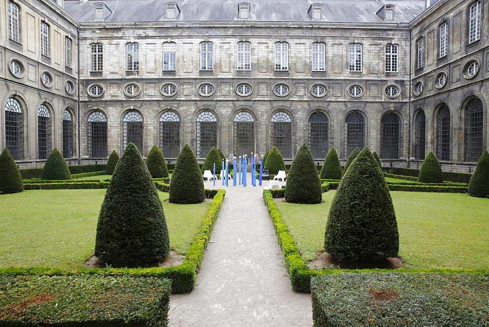 Courtyard of the Cloister, Saint-Vaast Abbey, now housing the Arras Fine Arts Museum, Arras, Pas-de-Calais, France, Europe